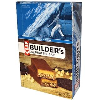 Clif Bar, Builder's Protein Bar, Cookies N' Cream, 12 Bars, 2.4 oz (68 g) Each
