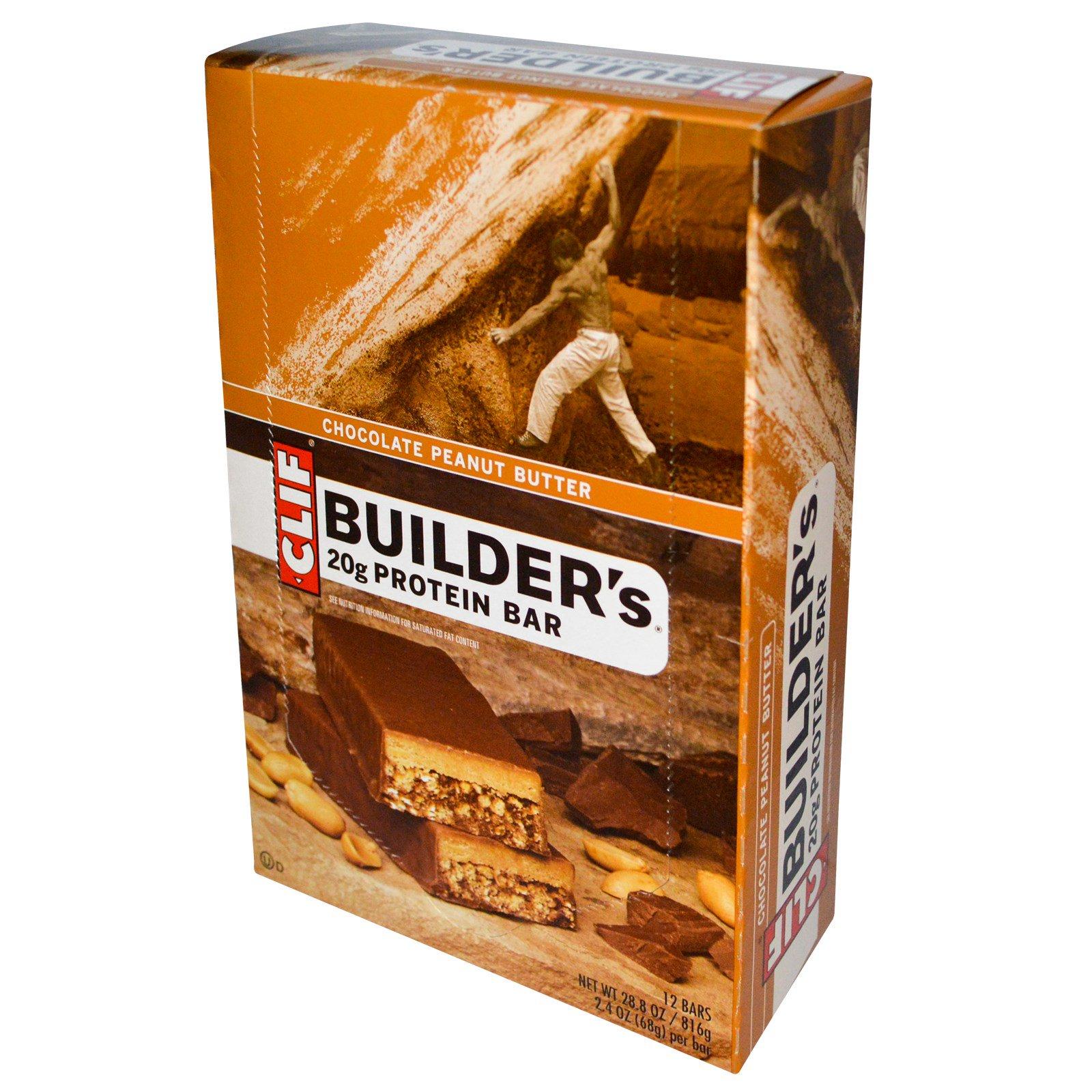 Clif Bar, Белковый батончик Builder's, двойной хрустящий с арахисовым маслом и обмакнутый в какао, 12 батончиков, каждый 2,4 унц. (68 г)