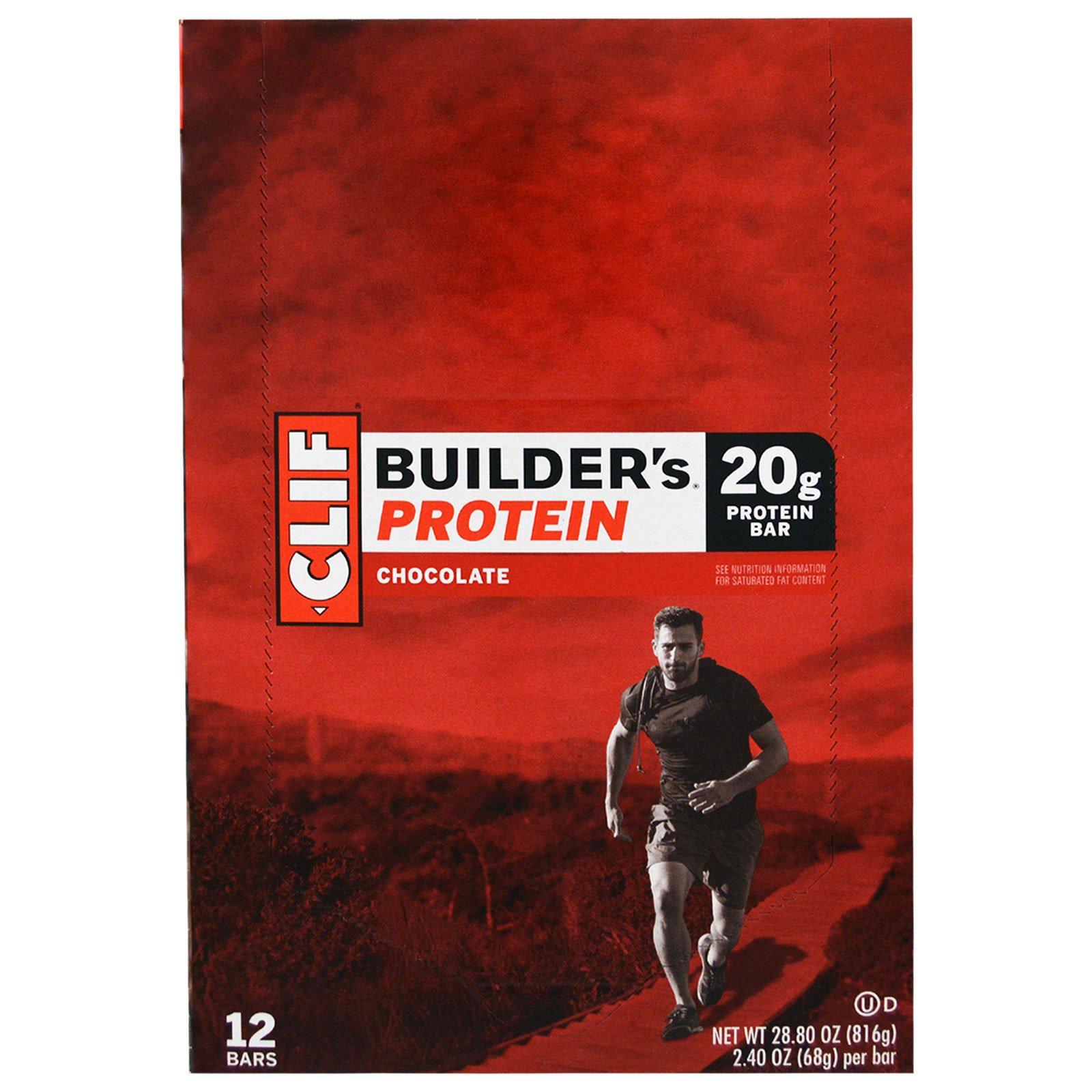 Clif Bar, Протеиновый батончик от Builder, шоколадный, 12 батончиков, по 2,4 унции (68 гр) каждый