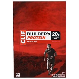 Clif Bar, Builder's Protein Bar, Chocolate, 12 Bars, 2.4 oz (68 g) Each