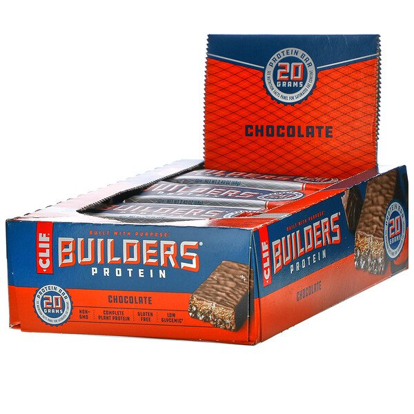 Clif Bar, Builder's Barra de proteína, Chocolate, 12 Barras, 2.40 oz (68 g) Each