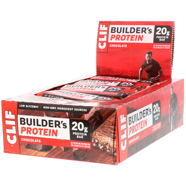 Clif Bar, Builder's Protein Bar, Chocolate, 12 Bars, 2.40 oz (68 g) Each