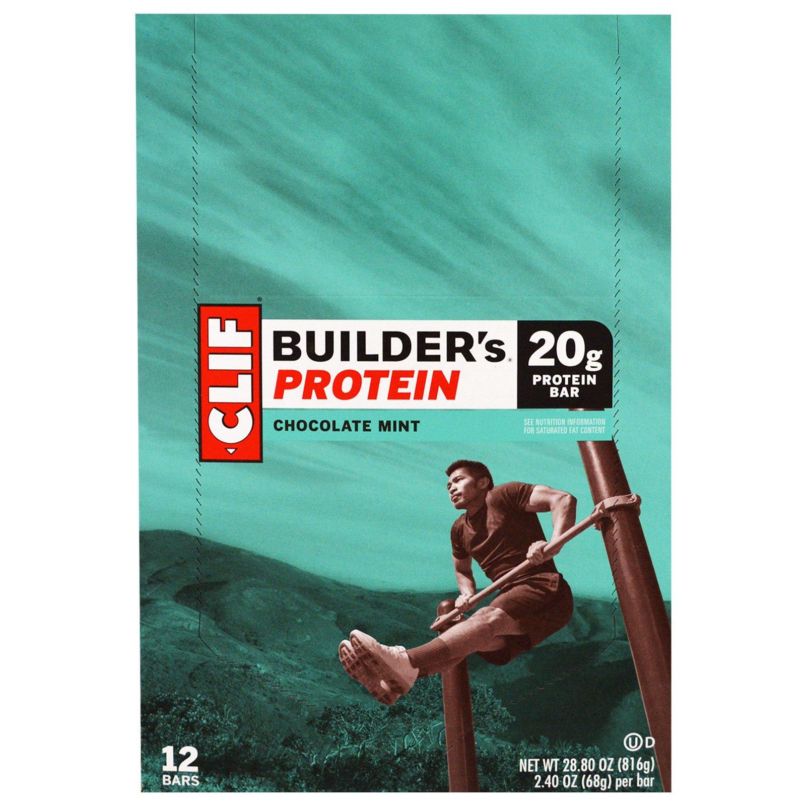 Clif Bar, Протеиновый батончик Builder's, шоколад и мята, 12 батончиков, 2,40 унции (68 г) каждый
