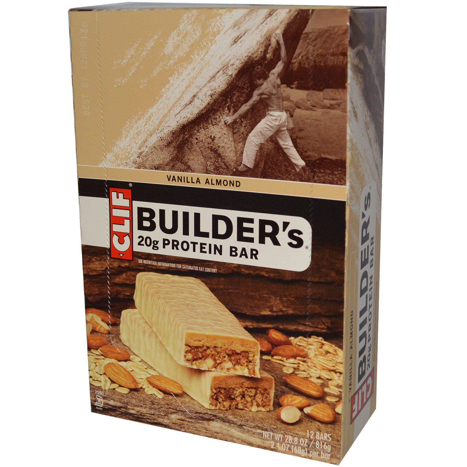 Clif Bar, Builder's Protein Bar, Vanilla Almond, 12 Bars, 2.4 oz (68 g) Per Bar