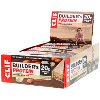 Clif Bar, Builder's Protein Bar, Vanilla Almond, 12 Bars, 2.4 oz (68 g) Each