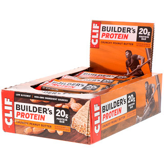 Clif Bar, Builder's Protein Bar, Crunchy Peanut Butter, 12 Bars, 2.4 oz (68 g) Each