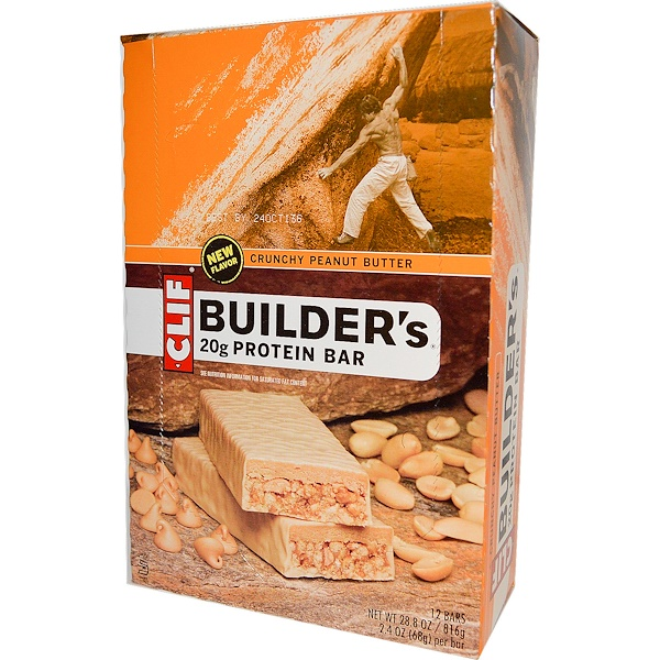 Clif Bar, Builder's 蛋白棒,脆脆花生醬,12 條,每條2、4 盎司(68 克)
