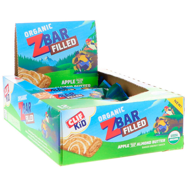 Clif Bar, Clif Kid, Organic ZBar Filled, Apple Filled with Almond Butter, 12 Bars, 1.06 oz (30 g) Each (Discontinued Item)