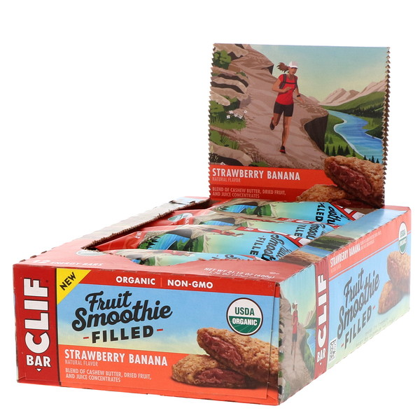 Clif Bar, Energy Bars, Fruit Smoothie Filled, Strawberry Banana, 12 Bars, 1.76 oz (50 g) Each (Discontinued Item)