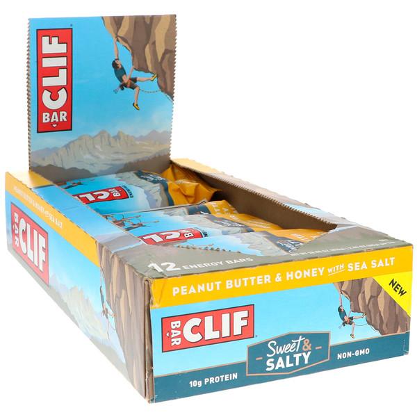 Clif Bar, Energy Bars, Peanut Butter & Honey with Sea Salt, 12 Bars, 2、40 oz (68 g) Each