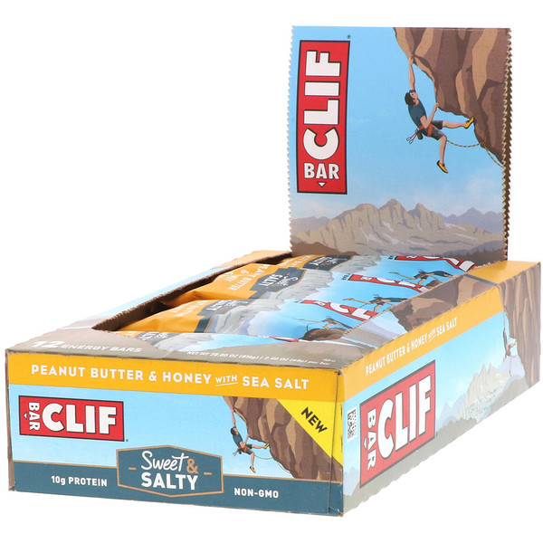 Clif Bar, Energy Bar, Peanut Butter & Honey with Sea Salt, 12 Bars, 2.40 oz (68 g) Each