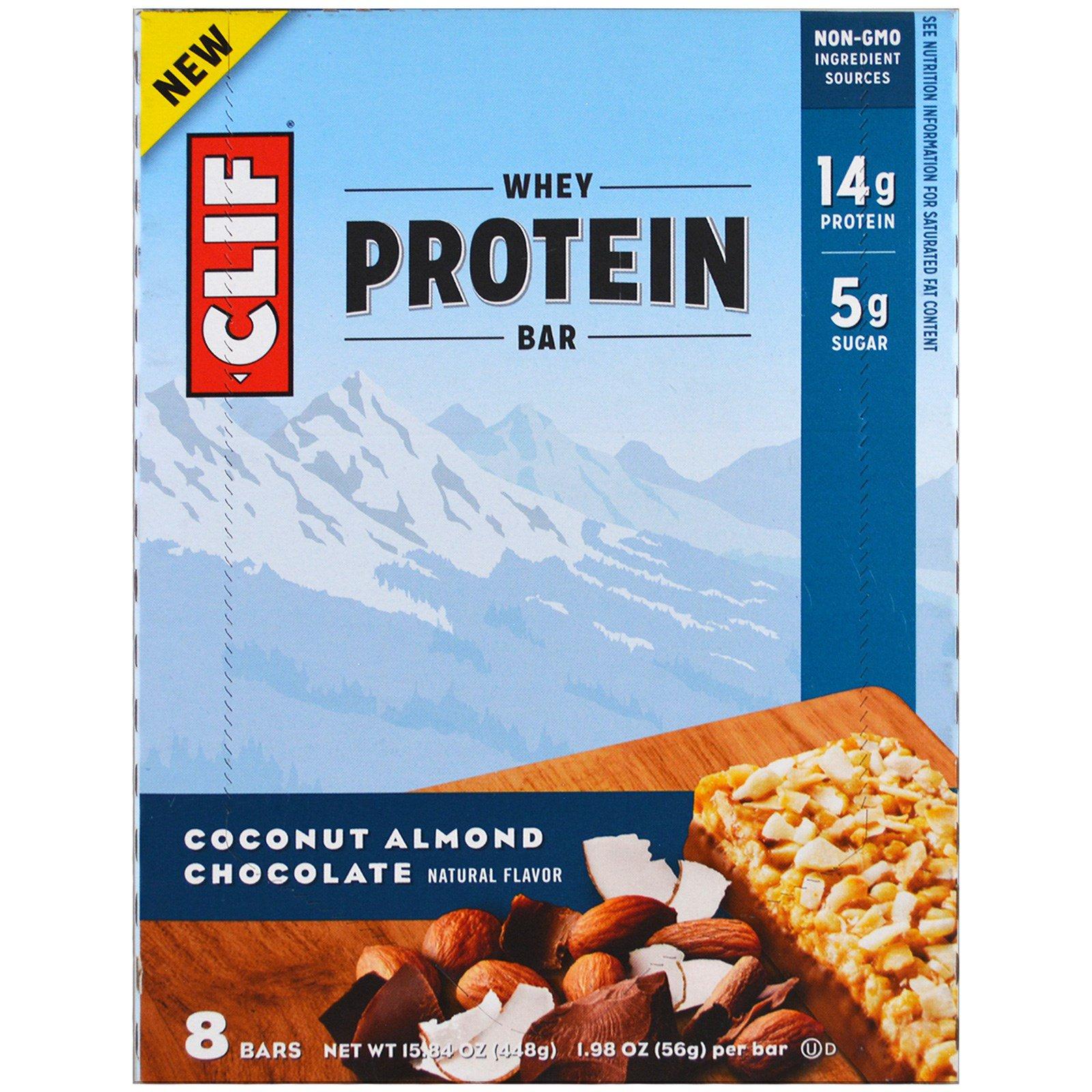 Clif Bar, Батончик с сывороточным протеином, кокос, миндаль, шоколад, 8 батончиков, 1,98 унции (56 г) каждый