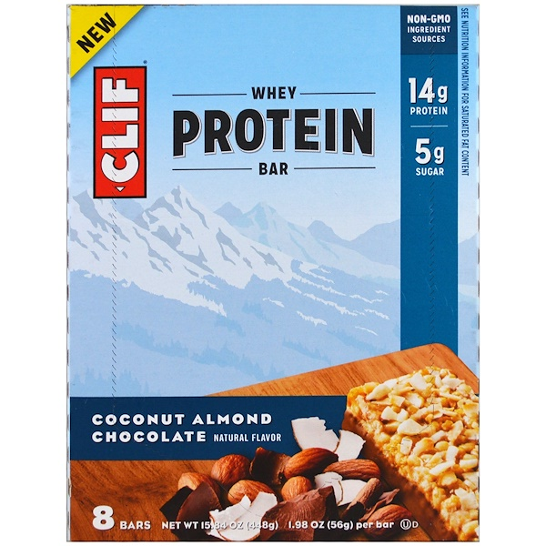Clif Bar, Whey Protein Bar, Coconut Almond Chocolate, 8 Bars, 1.98 oz (56 g) Each (Discontinued Item)