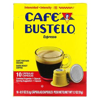 Cafe Bustelo, Espresso, Dark Roast Coffee, 10 Capsules, 0.17 oz (5.1 g) Each