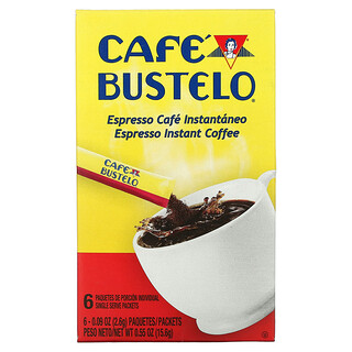 Cafe Bustelo, Espresso Instant Coffee, 6 Packets, 0.09 oz (2.6 g) Each