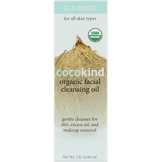 Cocokind, Organic Facial Cleansing Oil, For All Skin Types, 2 fl oz (60 ml)