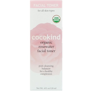 Cocokind, Organic Rosewater Facial Toner, For All Skin Types, 4 fl oz (120 ml)