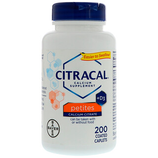Citracal, 바이엘, 칼슘 시트르산염 포뮬러 + D3, 작은 알약, 200 코팅 태블릿