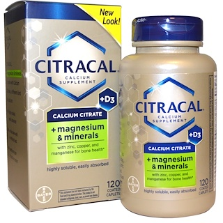 Citracal, Calcium Citrate, + Magnesium & Minerals, +D3, 120 Coated Caplets