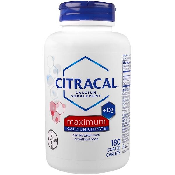 Citracal, Максимум, +D3, 180 капсуловидных таблеток в оболочке