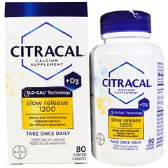 Citracal, Calcium Supplement, Slow Release 1200 + D3, 80 Coated Tablets