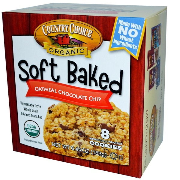 Country Choice Organic, Soft Baked, Oatmeal Chocolate Chip, 8 Cookies, 6.44 oz (183 g) (Discontinued Item)