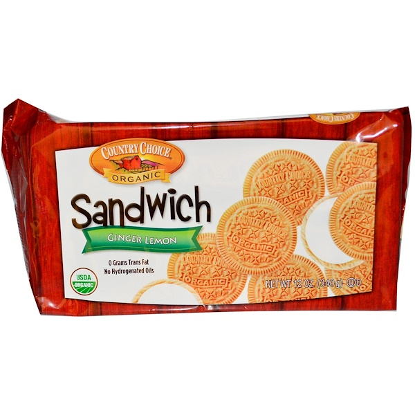 Country Choice Organic, Sandwich Cookies, Ginger Lemon, 12 oz (340 g) (Discontinued Item)