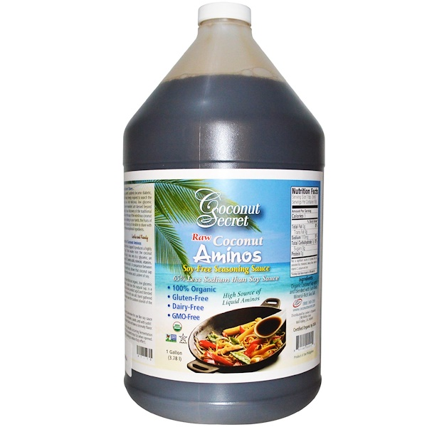 Coconut Secret, Raw Coconut Aminos, Soy-Free Seasoning Sauce, 1 Gallon (3.78 l) (Discontinued Item)