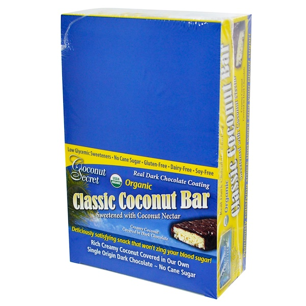 Coconut Secret, Organic, Classic Coconut Bar, 12 Bars, 1.75 oz (50 g) Each