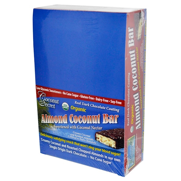 Coconut Secret, Organic, Almond Coconut Bar, 12 Bars 1.75 oz (50 g) Each (Discontinued Item)