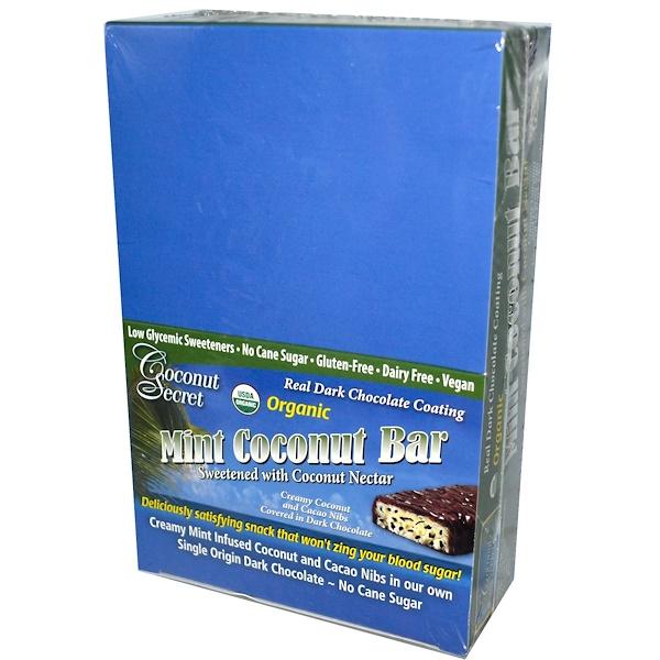Coconut Secret, Organic, Mint Coconut Bar, 12 Bars, 1.75 oz (50 g) Each (Discontinued Item)