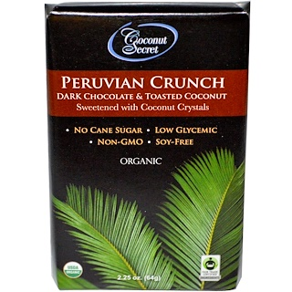 Coconut Secret, Organic Peruvian Crunch, Dark Chocolate & Toasted Coconut, 2.25 oz (64 g)