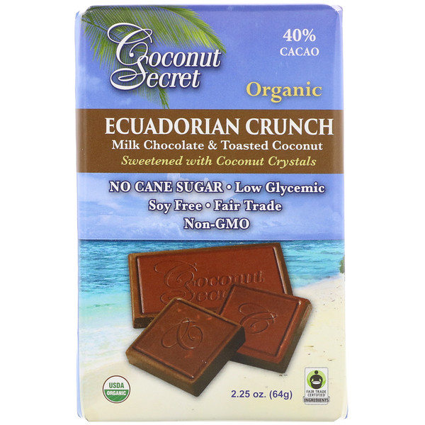 Coconut Secret, Crujiente ecuatoriano, chocolate con leche y coco tostado, 2,25 oz (64 g) (Discontinued Item)