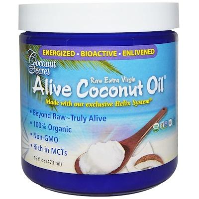 Organic Alive Coconut Oil, Raw Extra Virgin, 16 fl oz (473 ml) недорого