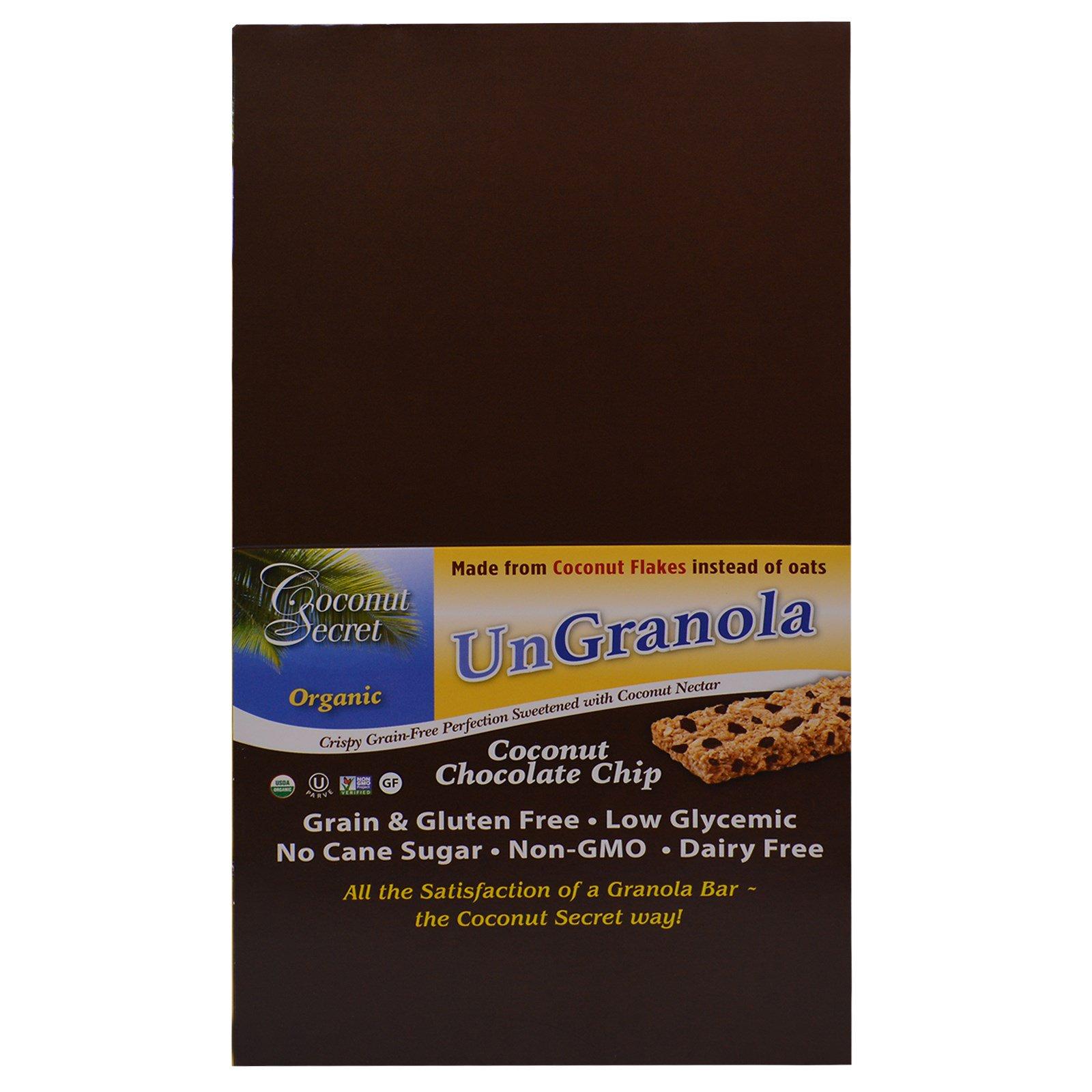 Coconut Secret, Батончик Ungranola, Органическая Крошка Кокосового Шоколада, 12 батончиков, 1,2 унции (34g) Каждый