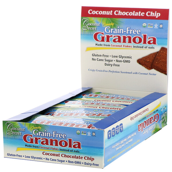 Coconut Secret, Crunchy Grain-Free Granola Bar, Coconut Chocolate Chip, 12 Bars, 1.2 oz (34 g) Each (Discontinued Item)