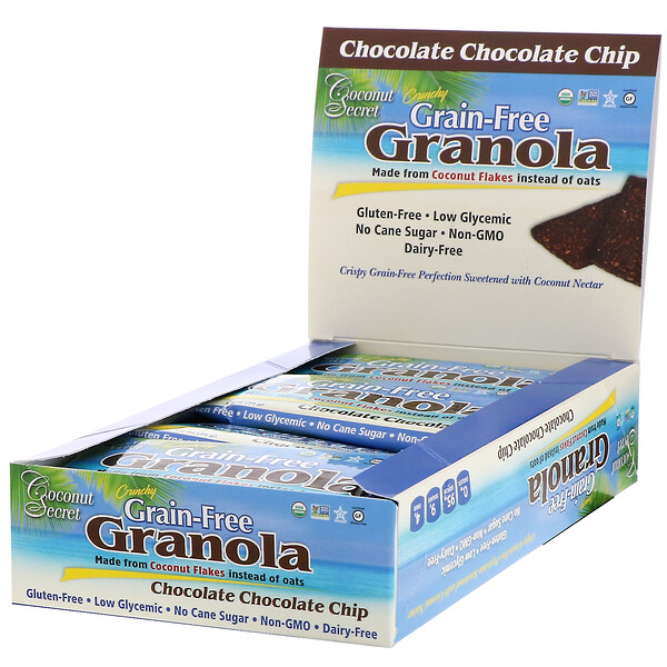 Coconut Secret, Crunchy Grain Free Granola Bar, Chocolate Chocolate Chip, 12 Bars, 1.2 oz (34 g) Each