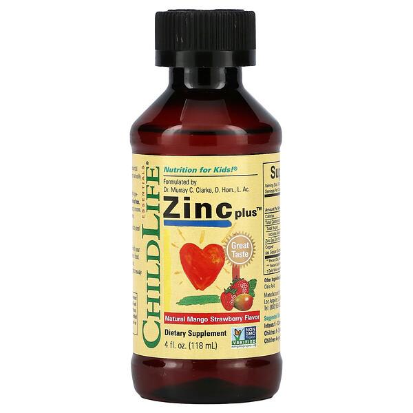 Essentials, Zinc Plus, Natural Mango Strawberry , 4 fl oz (118 ml)