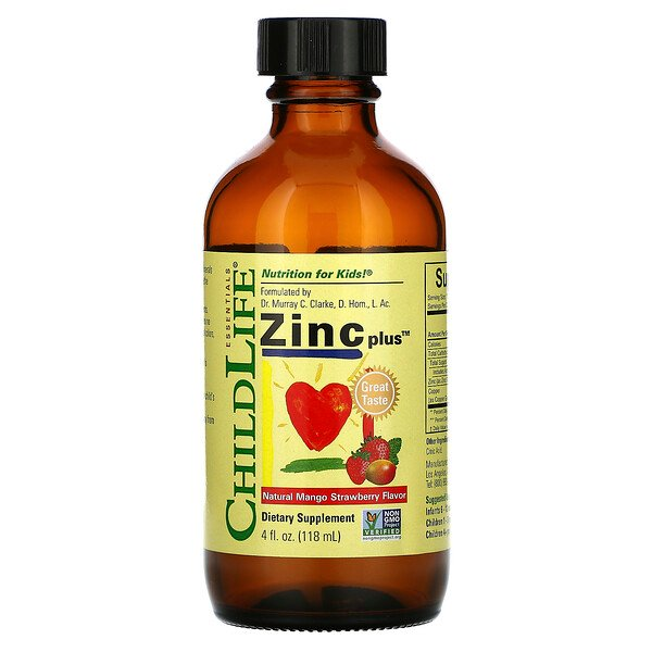 Essentials, Zinc Plus, Natural Mango Strawberry Flavor, 4 fl oz (118 ml)