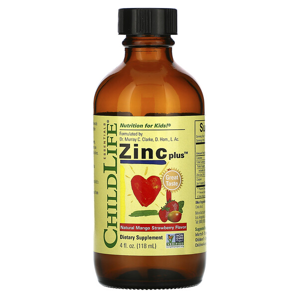 ChildLife, Essentials, Zinc Plus, Natural Mango Strawberry Flavor, 4 fl oz (118 ml)