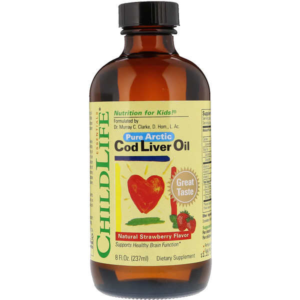 Cod Liver Oil, Natural Strawberry Flavor, 8 fl oz (237 ml)