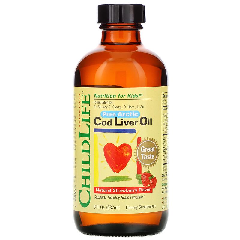 ChildLife, 鱈魚肝油,天然草莓味,8液體盎司(237毫升)