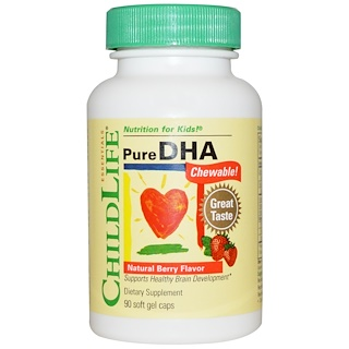 ChildLife, チャイルドライフ, Pure DHA Chewable, Natural Berry Flavor, 90 Soft Gel Capsules