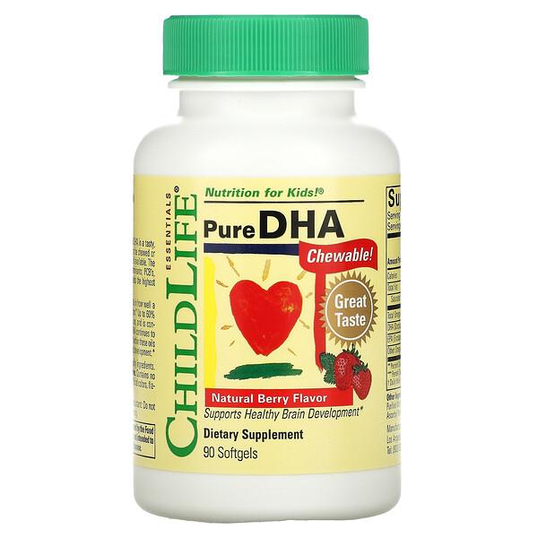 DHA puro, Sabor natural a bayas, 90cápsulas blandas