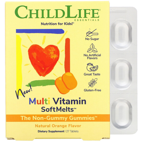 ChildLife, Multi Vitamin SoftMelts, Natural Orange Flavor, 27 Tablets