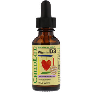 ChildLife, Vitamina D3, Sabor Natural de Frutas Vermelhas, 1 fl oz (29,6 ml)
