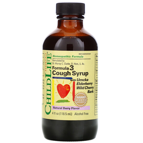 Essentials, Formula 3 Cough Syrup, Alcohol Free, Natural Berry Flavor, 4 fl oz (118.5 ml)