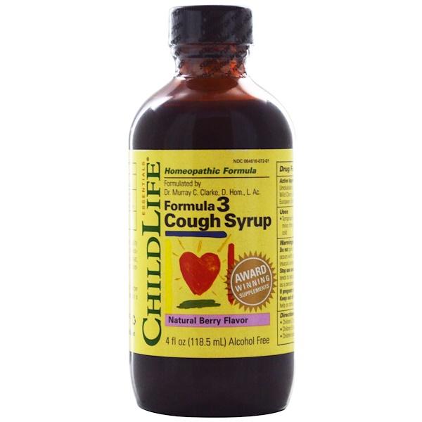 ChildLife, Formula 3 Сироп от кашля, без алкоголя, натуральный ягодный вкус, 4 жидкие унции (118.5 мл)