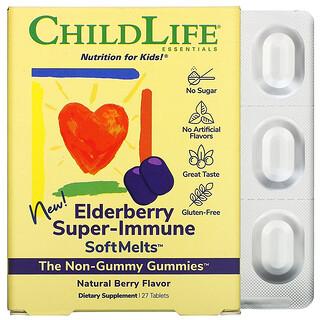 ChildLife, ElderberrySuper-ImmuneSoftMelts, Suplemento de saúco para la salud inmunitaria, Sabor a bayas naturales, 27comprimidos