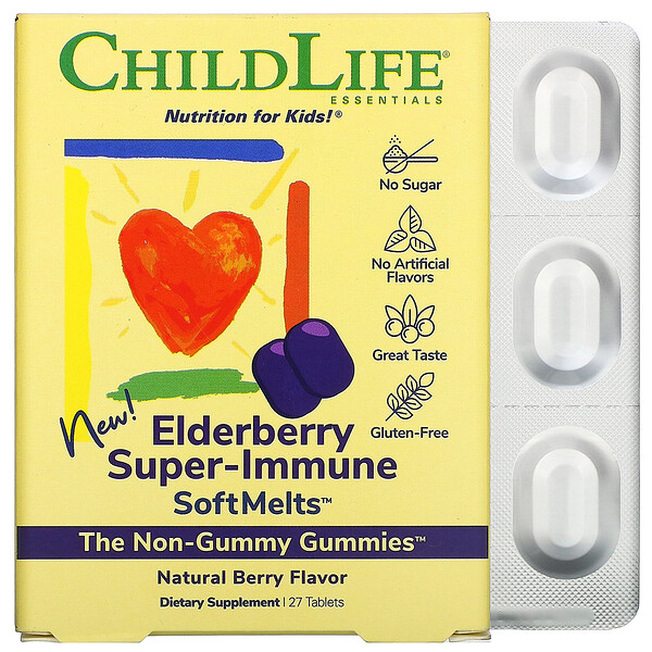 Elderberry Super-Immune SoftMelts, Natural Berry Flavor, 27 Tablets